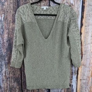 New York & Co Gray Knit 3/4 V-neck Sweater L